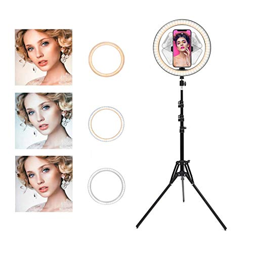Ring Light with Stand OEBLD Selfie Light Ring with iPhone Tripod and Phone Holder for Video Photography Makeup Live Streaming YouTube Lighting (C(10.2