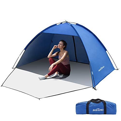 IREGRO Beach Tent,Portable Prevent Small Rain Camping Tent for 3-5 Person Anti-UV 50+ Sun Shade with Extended Zippered Porch for Family Kids Baby Outdoor Picnic,Beach,Garden,Camping,Fishing(Darkblue)