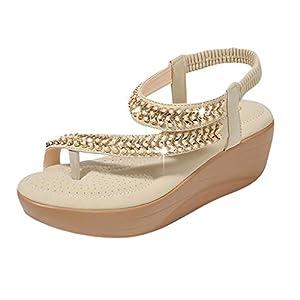 ♥YWLINK Zapatos Mujer CuñA Bohemia Damas Cristal Sandalias Chanclas De Playa Flip Zapatos Casuales TamañO Grande Zapatillas Fiesta De Coctel Regalo del DíA De Miembro Zapatos Romanos(Caqui,37EU)