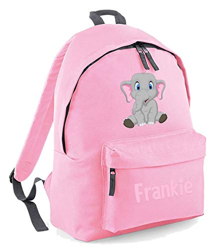 Cute Elephant Custom Name Bag - Personalised Girls Backback Perfect for School Nursery Or College Rucksack BackpackCustom Name School Bag Girl (Light Pink, Adults)