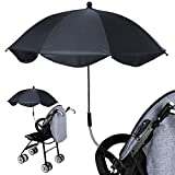 Black Long Handle Umbrella Shade Umbrella, with Umbrella Clip Fixing Device, Great for Beach Chairs, Bleachers, Strollers, Wagons, Wheel Chairs or Golf Carts(Baby Stroller not Included)
