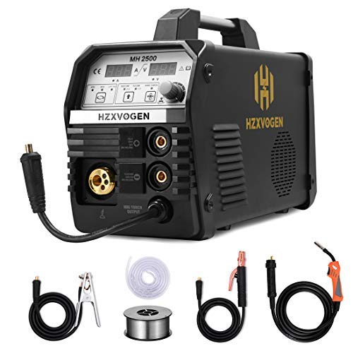 HZXVOGEN MIG Welder 220V 200Amp Gas Gasless MIG ARC Lift TIG Inverter DC 4 in 1 Multifunction MIG Welding Machine Flux Cored Wire Solid Core Wire Welding Equipment (Model: MH2500)