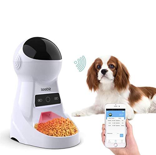 Iseebiz 3 L Comedero Automatico por WiFi para Perros/Gatos con 8 Comidas Diario