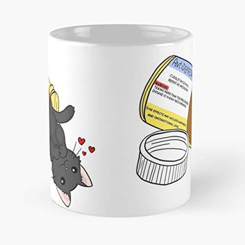 Medicine Pill Cute Drug Happy Kawaii Cat Kitty Taza de café con Leche 11 oz