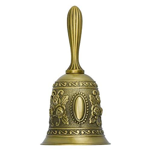 DESON Tea Hand Campanello a Mano, Campana Chiamate per Persona Anziana, Campanellino per Matrimonio, Campanella Cena Golden per Bambino
