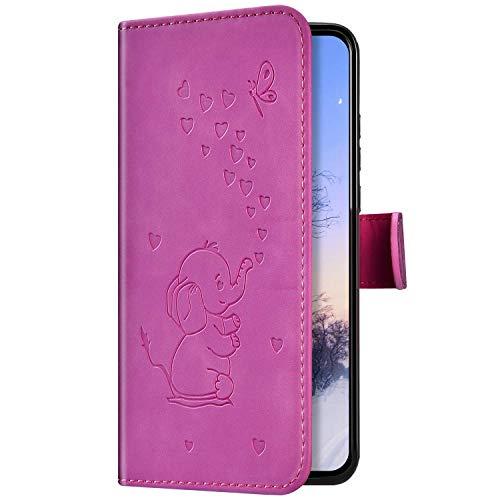 Uposao Kompatibel mit Samsung Galaxy S8 Hülle Handyhülle 3D Elefant Liebe Muster Klapphülle Flip Case Cover Schutzhülle Lederhülle Brieftasche Leder Tasche Kartenfächer Magnet,Rose Pink