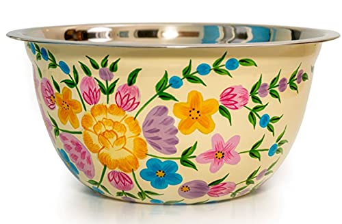 """Hand Painted Stainless Steel Bowl – Large Salad Bowl, Fruit Bowl, Mixing Bowl and Serving Bowl – Decorative, Handmade Floral Art Bowl for Home Decor, 10"""" Diameter, 3.6L Volume. (Cream)"""
