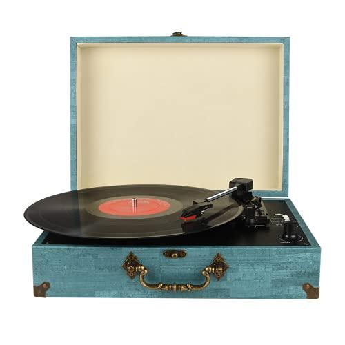 Tocadiscos Bluetooth con Estéreo Altavoces, Tocadiscos de Vinilo de Estilo Vintage, 33 45 78 RPM, Salida RCA Auriculares   MP3   Grabacion de Vinilo