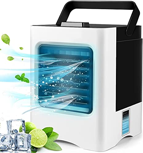 Portable Air Conditioner,Personal Air Cooler Personal Evaporative Air Cooler Quiet Desk Fan with 3-Speed, Cordless Rechargeable 3 in 1 Humidifier Misting Fan with Handle for Room Office Home Travel
