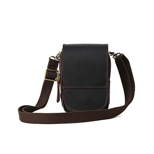 413V6doEelL. SS600  - Leathario Bolso Cinturón de Cuero de bandorela para Hombre-Riñonera Piel para Teléfono de 4~6 Pulgada Negro01
