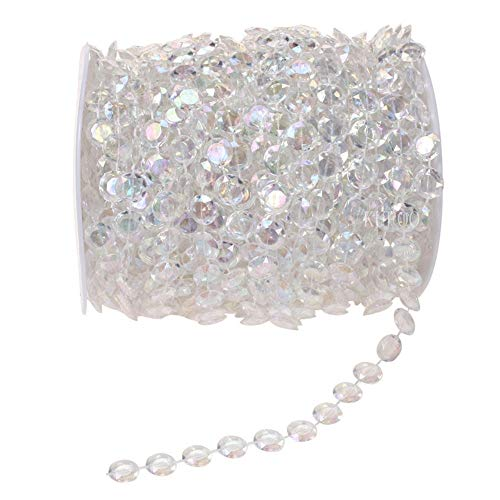 33 Yards 10MM Crystal Rhinestone Close Chain Trim for Sewing Crafts, Clear Strands Garland Bead Chandelier Lamp Chain for Wedding Party DIY Christmas Crystal Garland Decoration Transparent