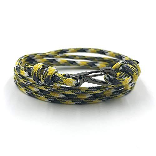 Rock + Shore Yello Camo - Karabiner mit verstellbarem Armband | Kletterarmband | Mens Seil Armband | Damen Seil Armband