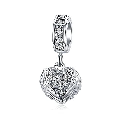 S925 Pendentif Aile De Coeur En Argent Sterling Perles De Zircon Adaptées Au Bracelet Original Bricolage Pendentif Bijoux De Mariage