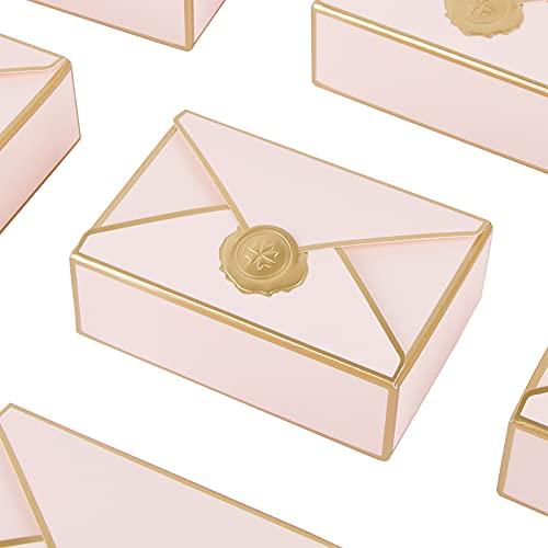 VINFUTUR 25 Stücke Geschenkbox Umschlagform Candy Box Klein Geschenkschachtel Gunst Geschenk Verpackungsbox für Hochzeit Geburtstag Taufe Party - Baby Pink