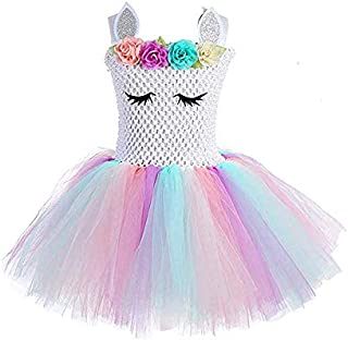Children Girls Rainbow Unicorn Tutu Dress Princess Fancy Dress Birthday Pageant Party Dresses Girls Christmas Halloween Po...