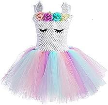 Children Girls Rainbow Unicorn Tutu Dress Princess Fancy Dress Birthday Pageant Party Dresses Girls Christmas Halloween Pony Cosplay Costume for Baby Girls & Kids for 3-8 Y