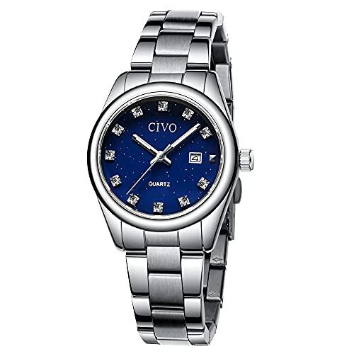 CIVO Damen Uhren Silber wasserdichte Edelstahl Datums Armbanduhr, Modekleid Elegante Diamant Damenuhr, Analog Quarz Uhr für Damen