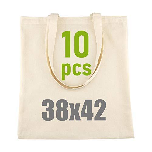 D.RECT - Lot de 10 Sacs en Coton Naturel avec Long Manche |38x42 cm,100% Coton |Sac à provisions |Sacs en toile de jute |Sac fourre-Tout réutilisable