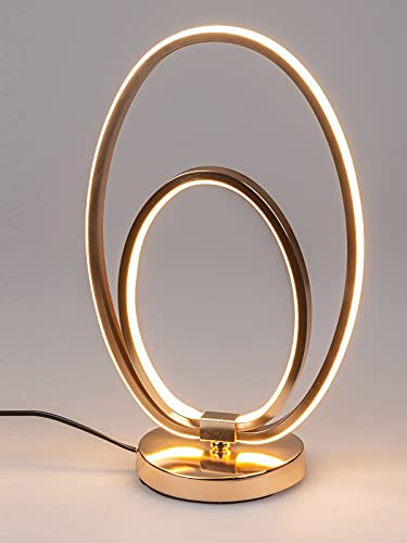 formano Moderne Ovale Ring LED Stehlampe warmweiß goldfarben Lampe 38 cm 1 Meter Kabel und Schalter Stimmungsbeleuchtung