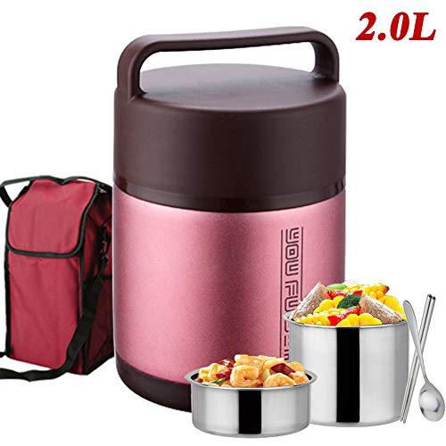 WXLJJYPD Contenitore per Alimenti, Acciaio Inox Scaldavivande Portatile Lunch Box, Contenitore Termico, Lunchy Box Scaldavivande, per Bevande e Cibo,Red,2.0L