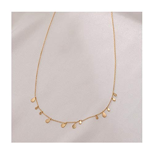 Zaza Womens Simple Delicate Full Pendent 18K Gold Plated/Silver Plated Layered Pendant Handmade Round/Rectangular/Drop-shaped Chokers Necklaces (Color : Gold, Size : Drop-shaped)