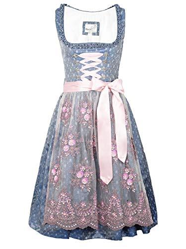 Marjo Dirndl Abia taubenblau rosa Flieder 65er Länge Jacquard (taubenblau 65er Länge, 40)