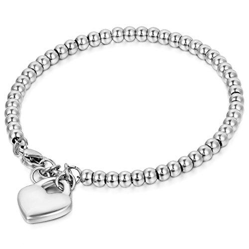 JewelryWe Schmuck Charme Damen Kugel Perlen Armband,Handgelenk Kugel Perlenkette mit solid Herz Anhänger Herzkette, Edelstahl Armreif, Silber - kostenlos Gravur