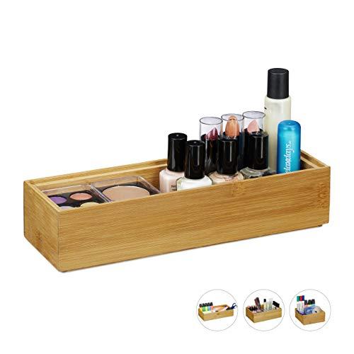 Relaxdays Ordnungsbox Bambus, stapelbar, natürliche Optik, Aufbewahrungsbox Küche, Bad, HxBxT: 5 x 23 x 7,5 cm, natur