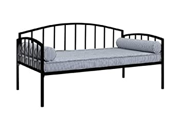 DHP Ava Metal Daybed Frame with Round Arm Design Fits Twin Size Mattress Black
