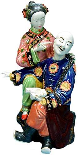 WPXBF Ornamento Decorazione Statue Ornamenti Sculture Statua in Porcellana di Antichi Oggetti D'Antiquariato da Collezione Statua in Ceramica di Coppia Scultura Artigianato Artistico Regali