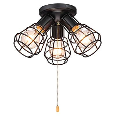 Industrial Close to Ceiling Light with Pull Chain, 3 Lights Modern Farmhouse Metal Wire Cage Semi Flush Mount Ceiling Lamp, 12 inch, Oil Black, UL Listed