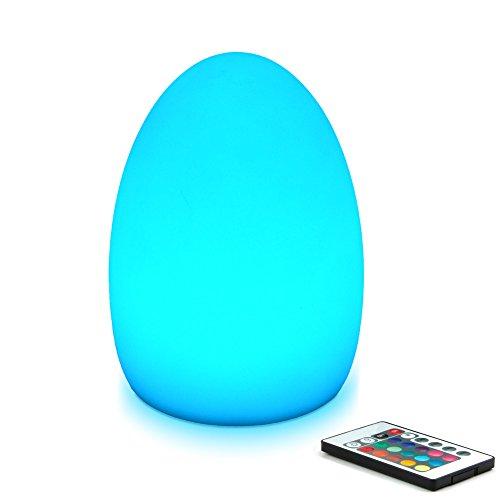 Mr.Go Lámpara LED de 8 pulgadas para luz nocturna para adultos y niños, mando a distancia, 16 colores RGB, ajustes brillantes y tenues, efectos de luz suave y de flash, recargable, diversión segura