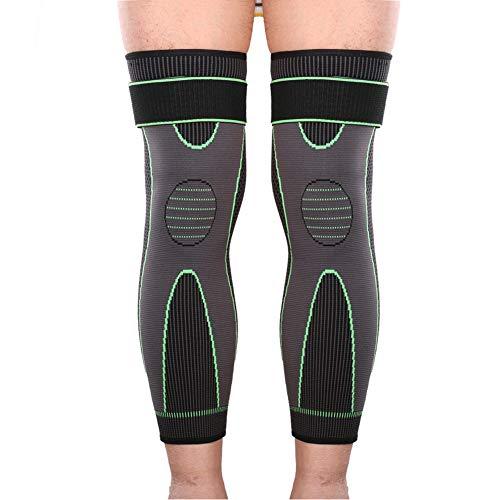 Vitoki 1 Paar Sport Lange Knieschoner Kompression Rutschfrei Kniebandage mit Gurt Knieschutz Damen Herren Knieorthese M