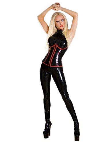 Dan Damen Wetlook Jumpsuit Kunstleder Catsuit Reißverschluss Schritt Clubwear Gr. Medium, Biack, rot
