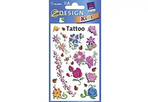 AVERY Zweckform 56691 Tattoo Kinder 20 Stück (Temporäre Tattoos Blumen, Kinder Tattoo wasserfest, Klebetattoos, Kindergeburtstag, Mitgebsel, Partyspiele Preise, Kinder zum Spielen, Tattoo Mädchen)