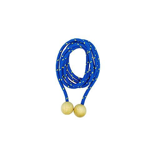 GICO Springseil aus Holz, buntes Seil, 250 cm, Holzkugeln Springseil Hüpfseil Seilspringen - Qualität Made in Germany - 3007 (Blau)