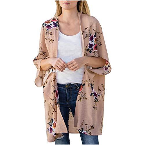 YTZL Kimono para mujer bohemio estampado, de gasa, con estampado floral, para verano, para llevar en la playa, para vacaciones Rosa. L