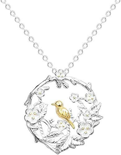 huangshuhua Collares de Marca 100% esterlina pequeña Rama de pájaro Natural Collares Mujeres pájaro Flor Jaula Ciruela Flor Gargantilla señora Collier 40Cm