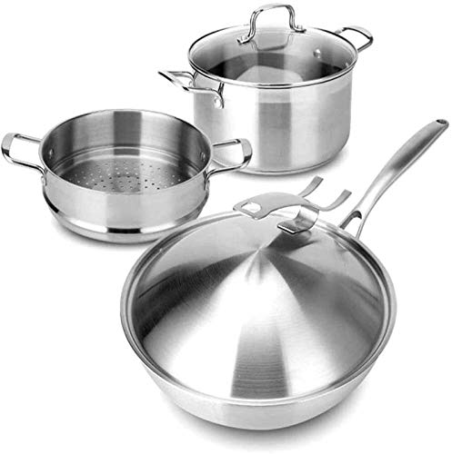 TYUIOYHZX Sistema de utensilios de cocina de cocina, utensilios de cocina conjuntos de ollas y sartenes conjuntos woks & sofry sartenes, ollas de utensilios de cocina antiadherentes y sartenes 3 pieza