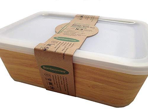 Tuper de Bambu - 3 Tupers de Fibra de Bambú Ecologicos - Material Organico, Reciclable, Biodegradable - Apto Lavavajillas - Resistente y Ligero - Eco, Bio, sin BPA ni Plastico - Taper Color Madera