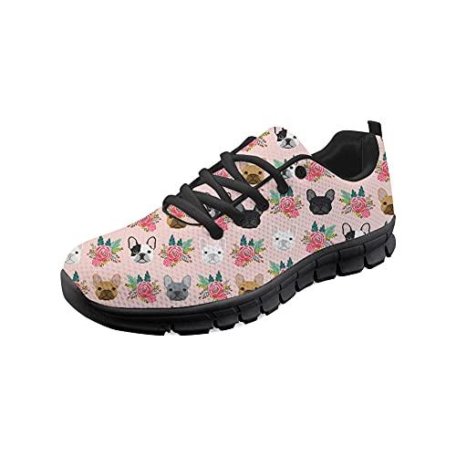 NETILGEN Scarpe da corsa leggere Mesh Trainer Traspirante Walking Jogging Scarpe da ginnastica Scarpe da ginnastica per le donne e gli uomini, Rosa (Fiore cane), 42.5 EU
