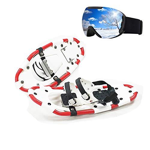 KUANDARM Zapatillas de Nieve Blancas de 22 Pulgadas, con Montura de Aluminio Ajustable, Trineo Antideslizante, Equipos Deportivos de esquí al Aire Libre para jóvenes, Hombres y Mujeres (A)