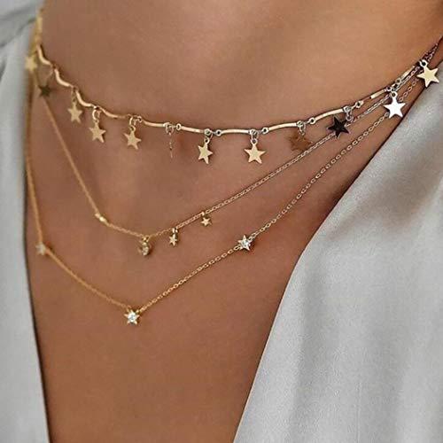 Simsly - Collana con ciondolo a forma di stella, a forma di nappa, in oro, a forma di mezzaluna, regolabile, per donne e ragazze