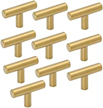 Uniquk 10 Pack Single Hole Gold Cabinet Knobs and Pulls Door Cupboards Bedroom Furniture Handles 50mm/2in Overall Length