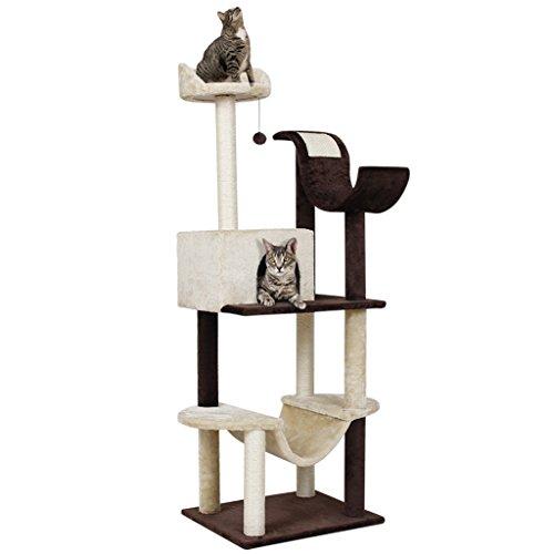 Finether 5-Tier Arbre à Chat 154 cm Cat Tree Griffoir Niches Chaton Arbre à Grattoir avec Colonne a Gratter, Hamac, Perches. Plate-Forme et Balle de Dangling, Capacité 3 Chats, Brun et Beige