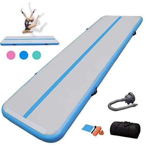 TIGERXBANGGimnasiaTumbling Mat 10/20cmEspesor3/4/5/6m Colchoneta Air Mat Estera de Yoga Taekwondo con Bomba eléctrica(Blue,5x1x0.1m)