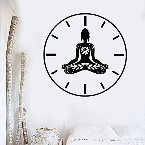 JXWH Yoga Tijd Muurtattoo creatieve klok Lotus Meditation Pose Zen Bloem Vinyl Raam Sticker Yoga Studio binnendecor Muurschildering
