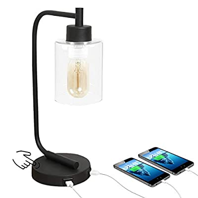 Innqoo Touch Control Table Lamp, 3 Way Dimmable Industrial Desk Lamp with USB Charging Ports, Modern Nightstand Lamp, Metal Bedside Lamp for Dorm, Bedroom, Living Room