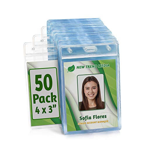 EcoEarth Vertical ID Badge Holder (Premium Tier Sealable, 4x3 Inch (L), 50 Pack), ID Holder, ID Card Holder Bulk, Name Badge Holder, Name Tag Holder, Plastic Badge Holder, Clear Card Badge Protector