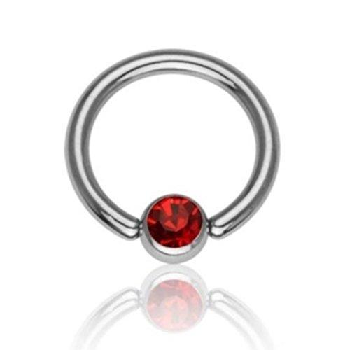 eeddoo Piercing-Ring Klemmring Kristall Silber glänzend Titan Durchmesser: 8 mm Rot 4 mm